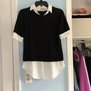 Collared blouse with attached sweater